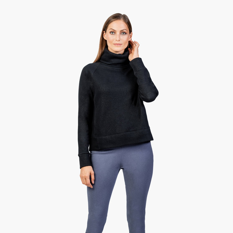 Women's Hybrid Funnel Neck Fleece - Black