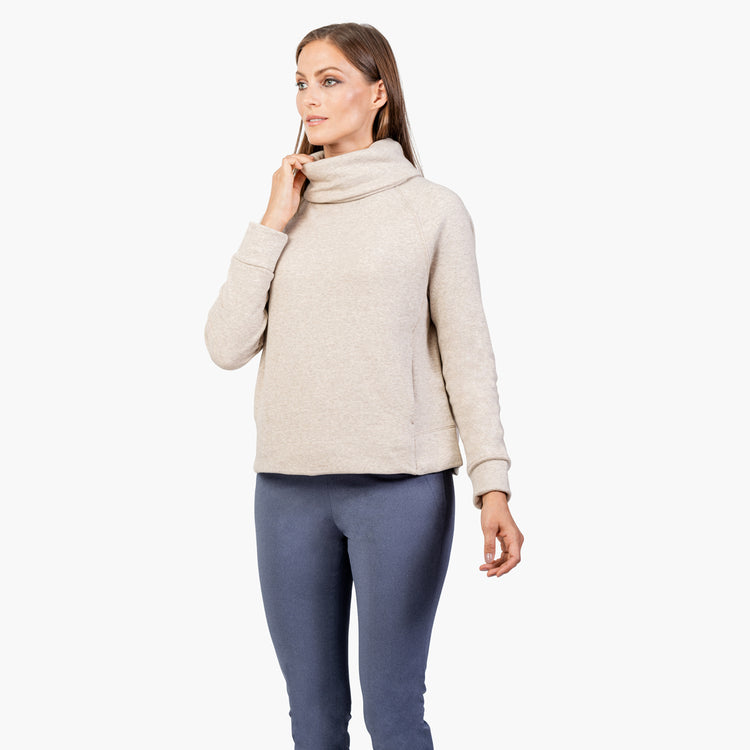 Women's Hybrid Funnel Neck Fleece - Oatmeal