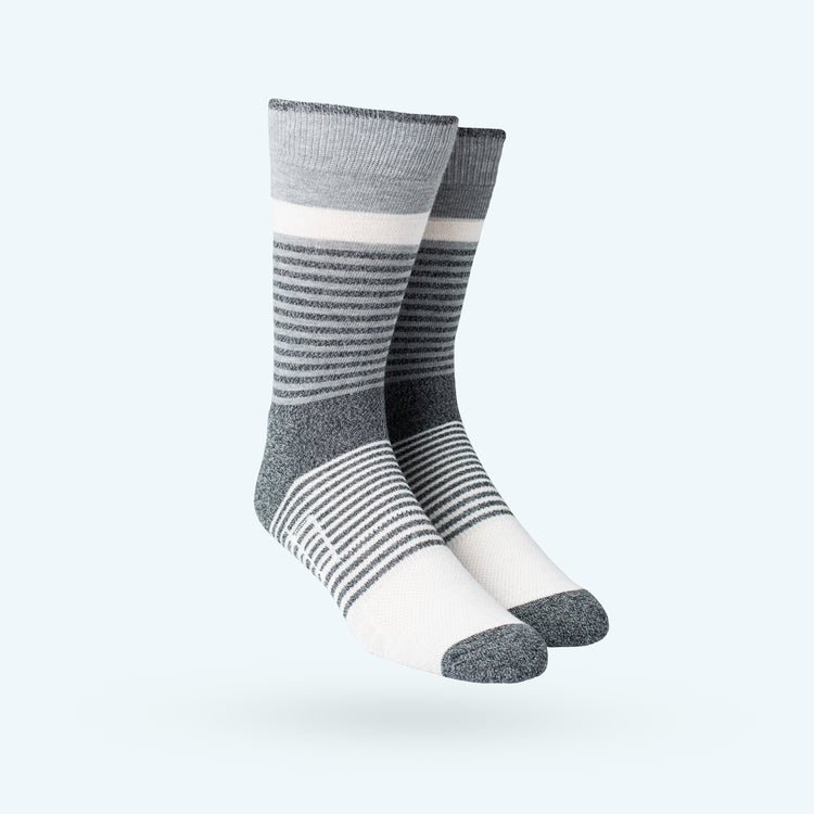 Atlas Dress Sock - Grey Heather Fade Stripe