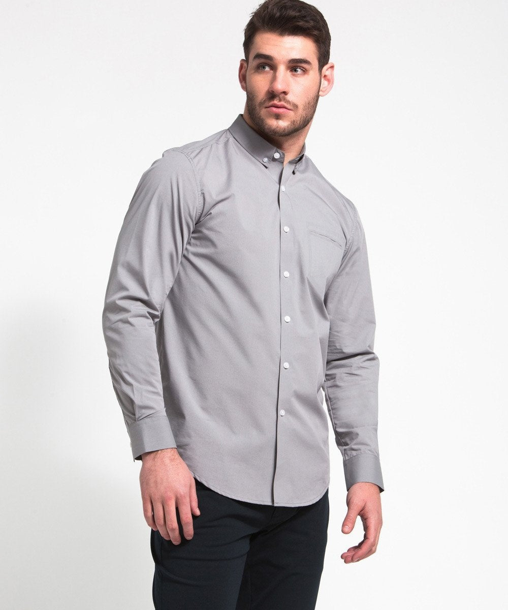 Mens Button Down Button Down Shirt Light Grey Ministry Of Supply