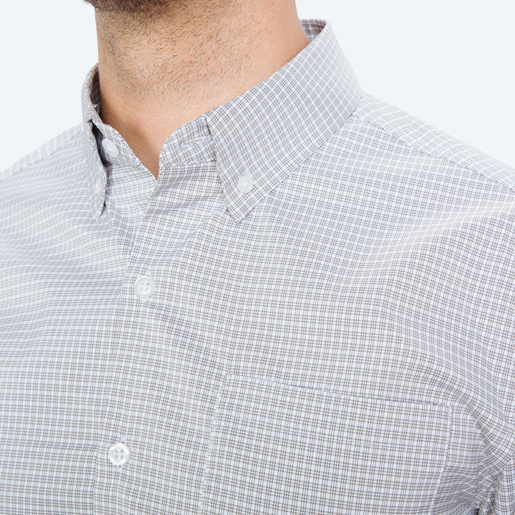 Men's Aero Button Down - Grey Quad Grid
