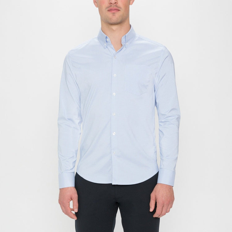 Men's Aero Button Down - Light Blue Mini Grid