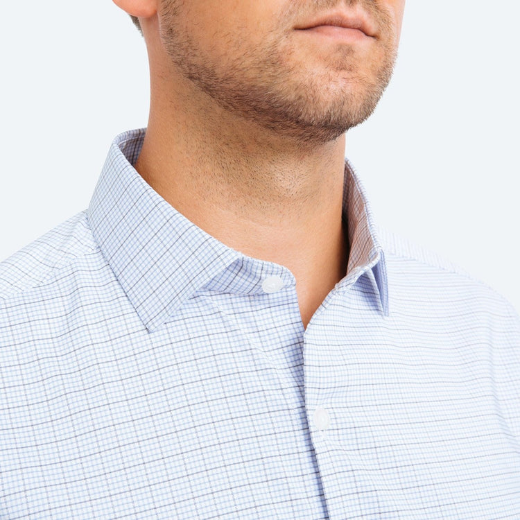 Aero Dress Shirt - Blue Tonal Graph Grid