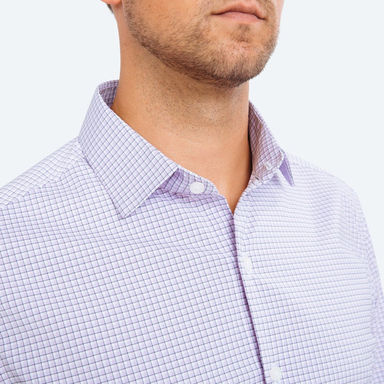 Aero Dress Shirt - Lavender Outline Check