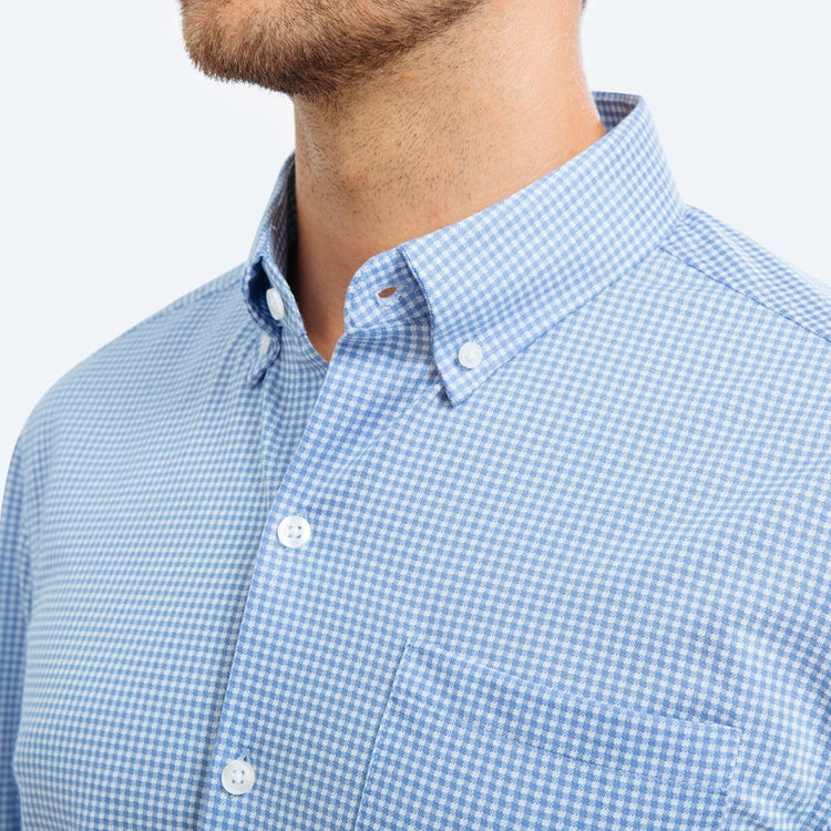 Men's Hybrid Button Down - Light Blue Gingham