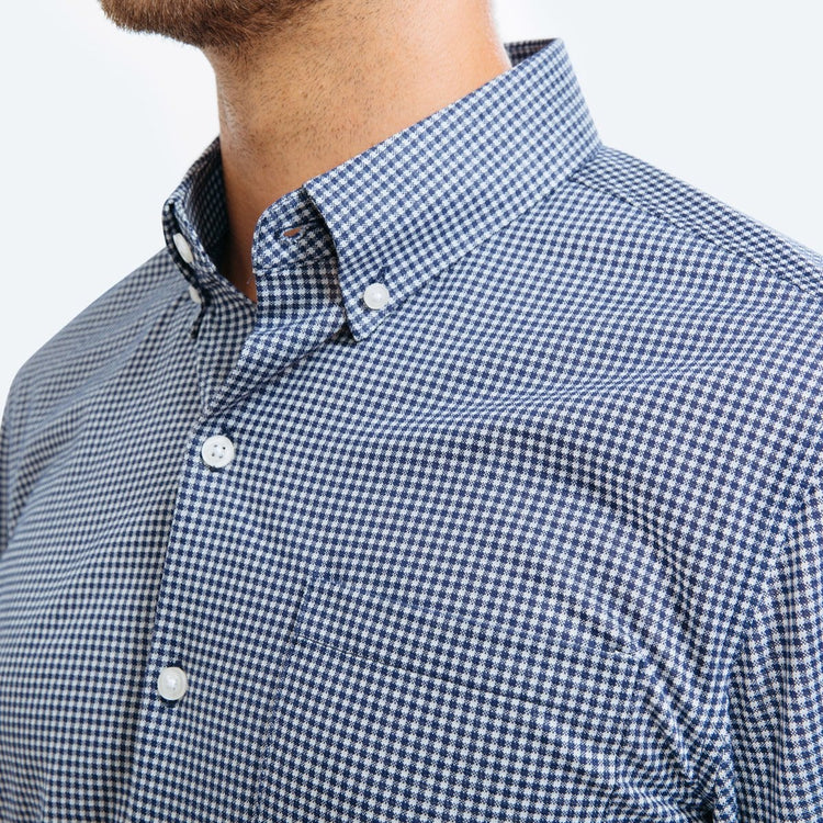 Hybrid Button Down - Navy Gingham
