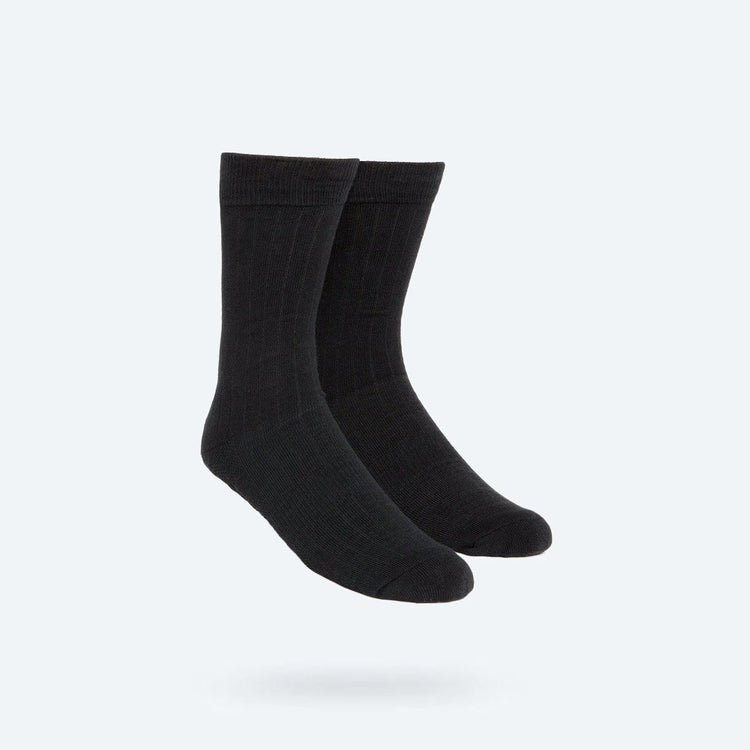 Atlas Dress Sock - Black Rib Knit