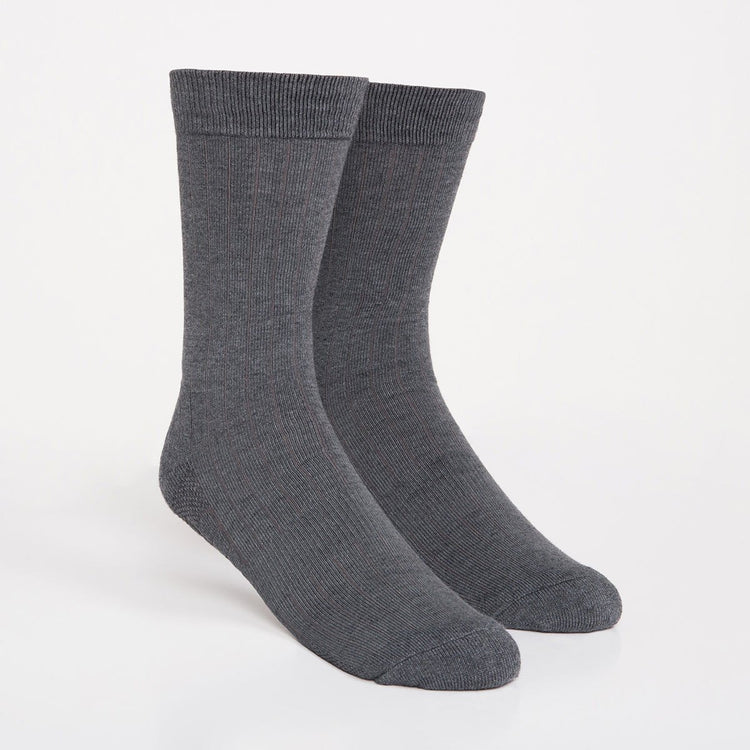 Atlas Dress Sock - Grey Rib Knit