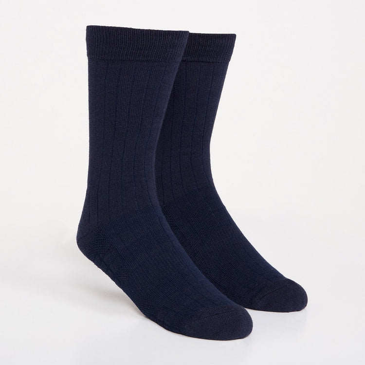 Atlas Dress Sock - Navy Rib Knit