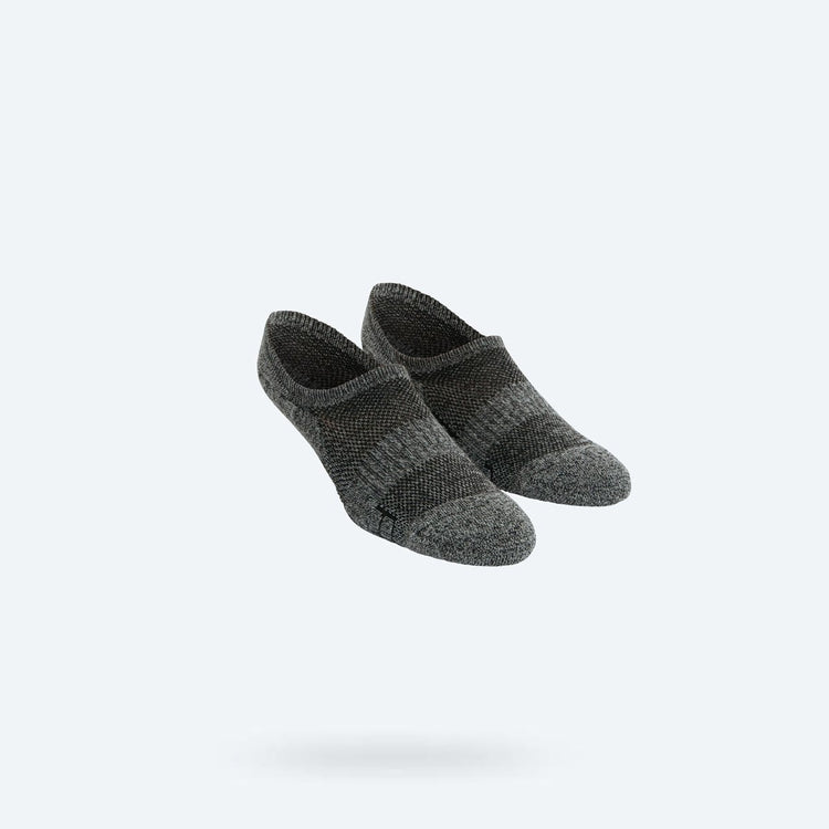 Atlas No Show Sock - Grey Black Heather