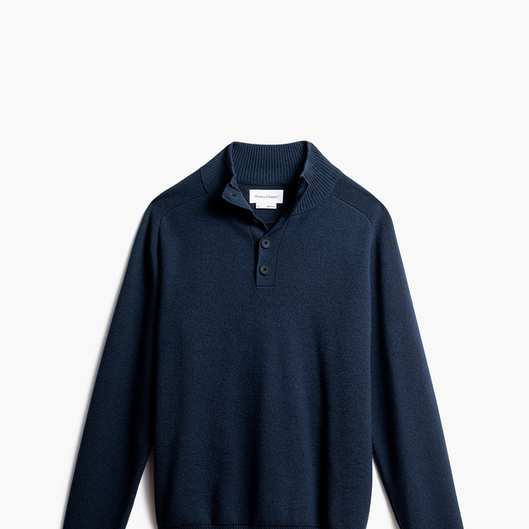 Atlas Merino Quarter Button-Collar - Navy