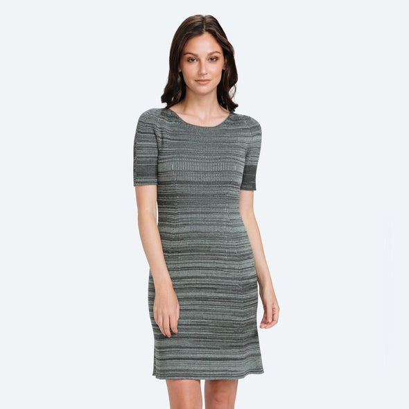 3D Print–Knit Sweater Dress - Barcode Charcoal