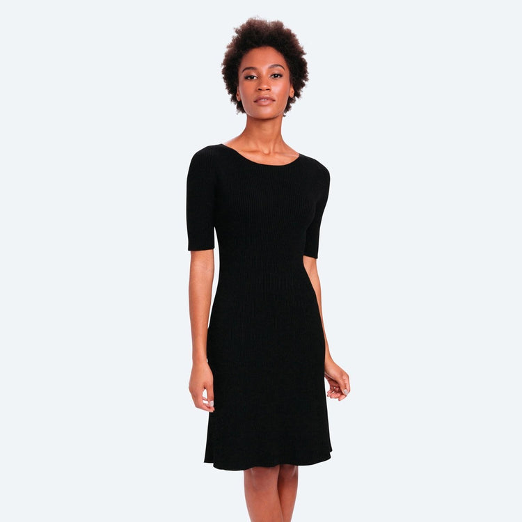 3D Print–Knit Sweater Dress - Black