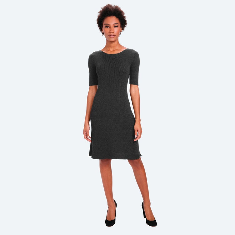 3D Print–Knit Sweater Dress - Dark Grey