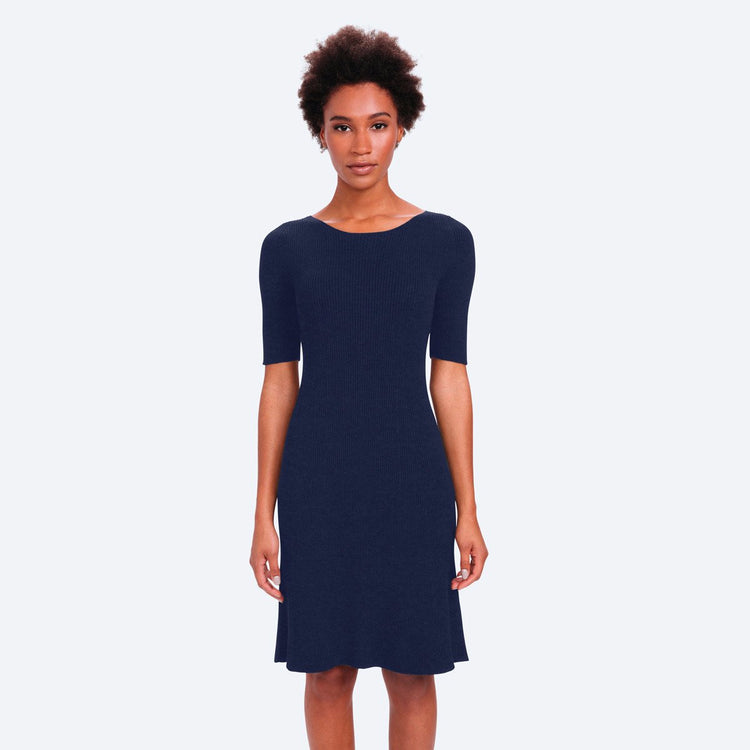 3D Print–Knit Sweater Dress - Navy