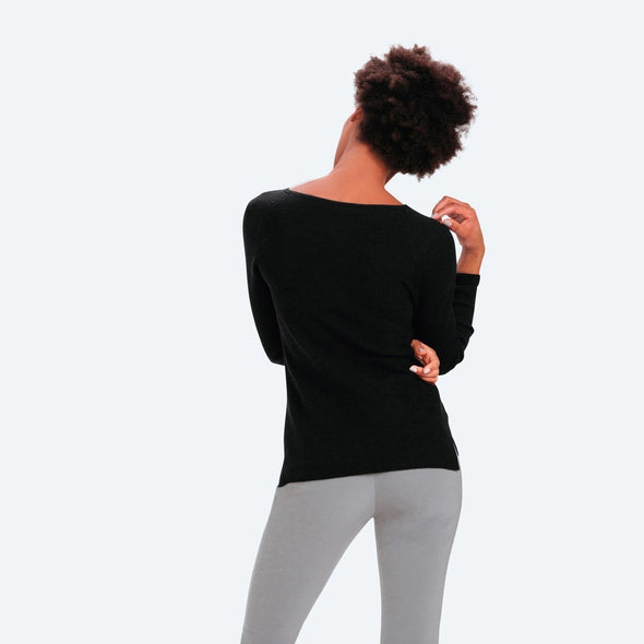Women's 3D Print–Knit Merino Crew - Black