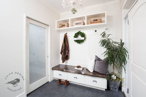 Image of mudroom with live edge bench