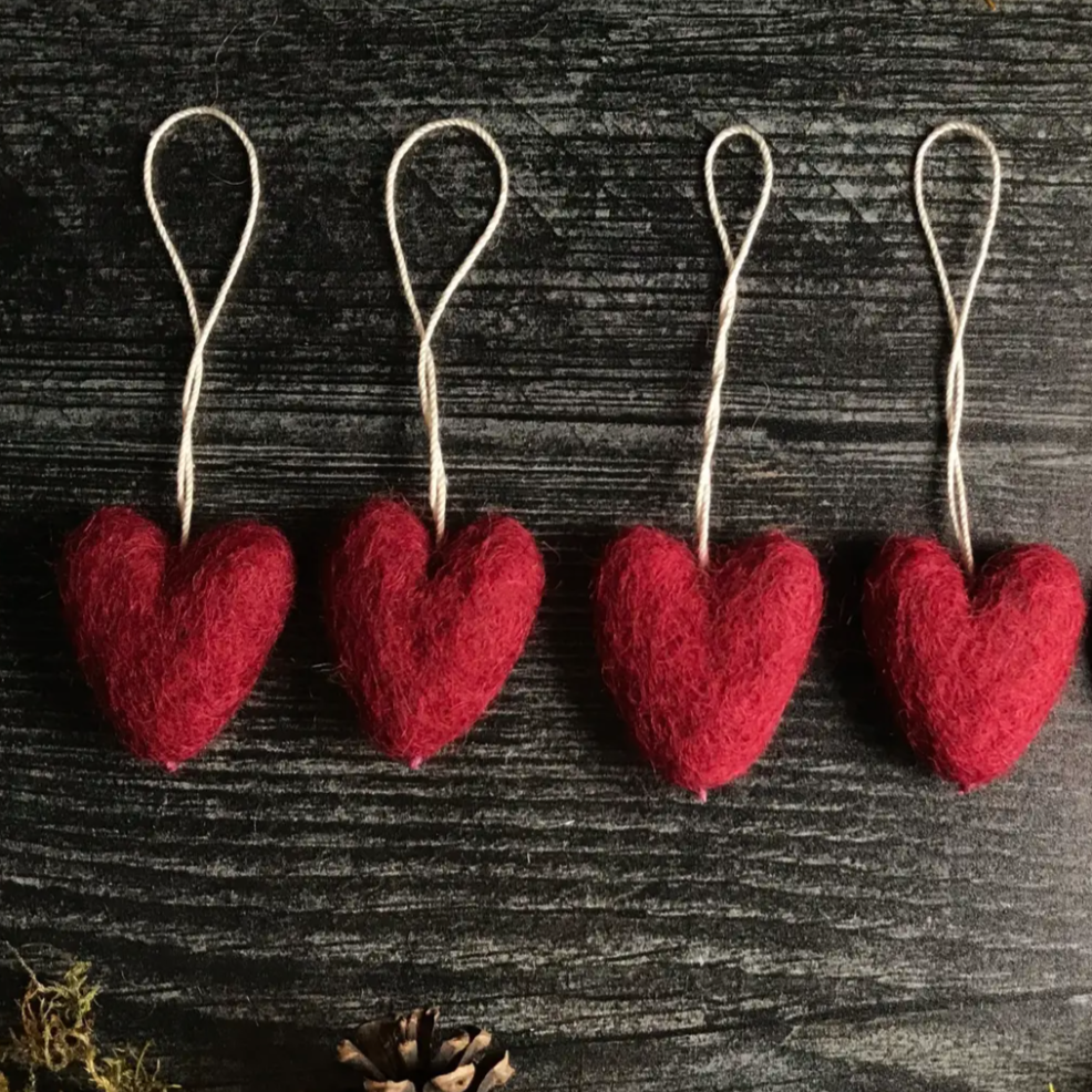 Felted Wood Mini Heart Ornament