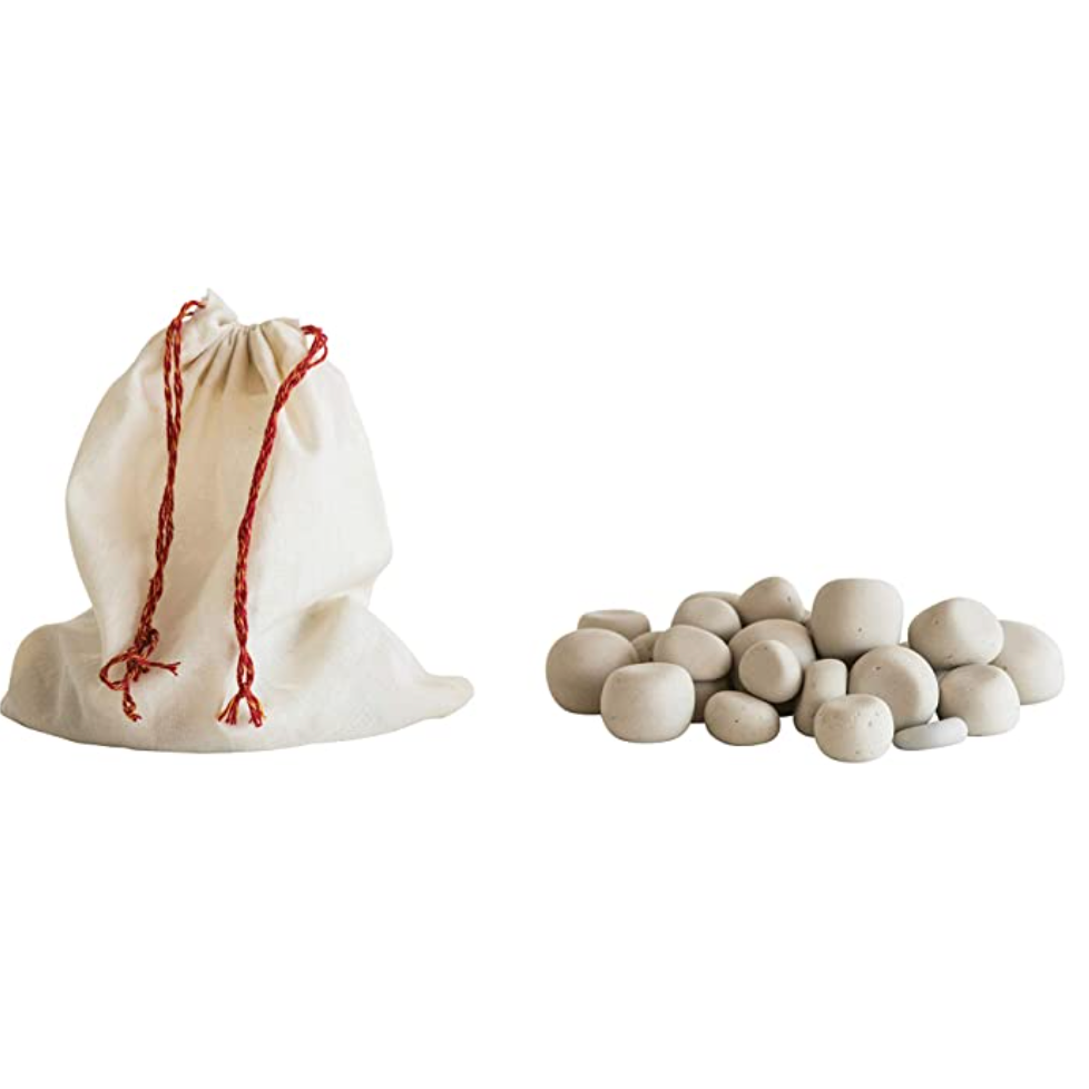 Stone Pebbles in Cotton Muslin Bag; White