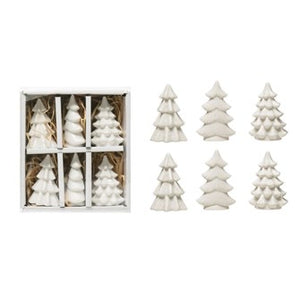 Holiday White Porcelain Trees - Set of 6