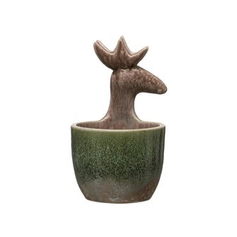Holiday Stoneware Glazed Deer Container