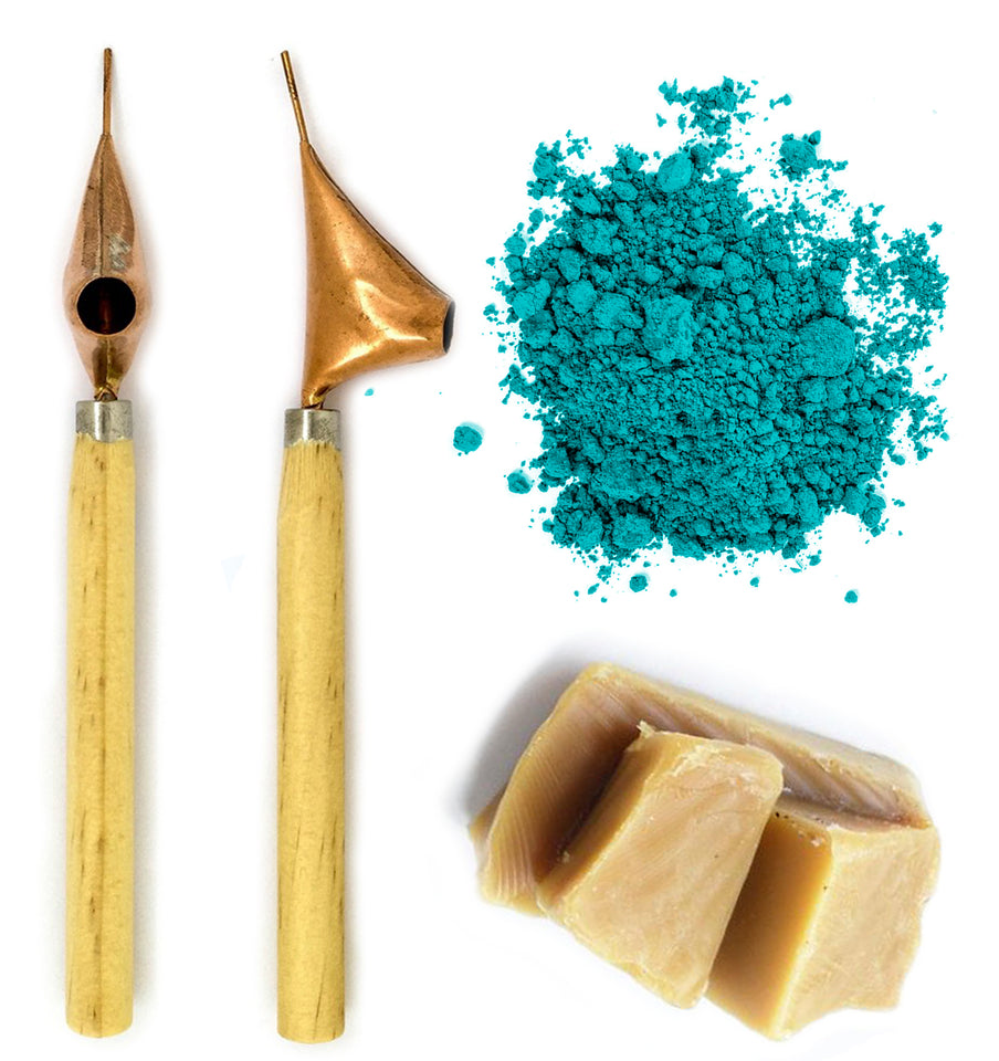 Batik tools include wax, powdered dye and a pair of tjanting