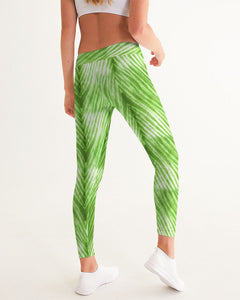 Lime Green Shibori Striped Leggings