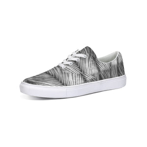Grey Shibori Striped Lace Up Canvas Shoe