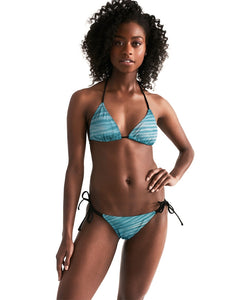 Turquoise Striped Shibori Triangle String Bikini