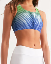 Load image into Gallery viewer, Blue Green Ombré Seamless Sports Bra