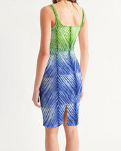 Load image into Gallery viewer, Blue Green Ombré Bodycon Dress