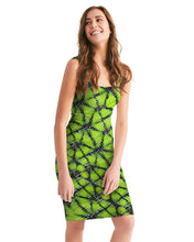 Load image into Gallery viewer, Neon Green and Black Bodycon Dress