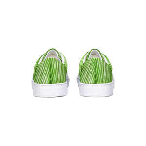 Lime Green Shibori Striped Canvas Sneakers