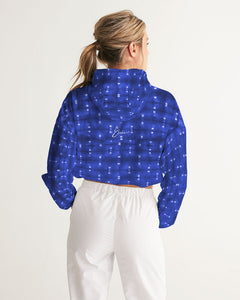 Shibori Indigo Spotted Cropped Windbreaker