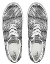 Load image into Gallery viewer, Grey Shibori Striped Lace Up Canvas Shoe
