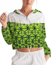 Load image into Gallery viewer, Lime Green Shibori Cropped Windbreaker