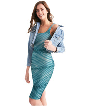 Load image into Gallery viewer, Shibori Turquoise Striped Bodycon Dress