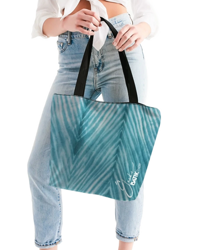 Turquoise Striped Shibori Canvas Zip Tote