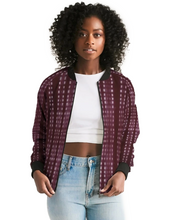 Load image into Gallery viewer, Shibori Burgundy Bomber Jacket