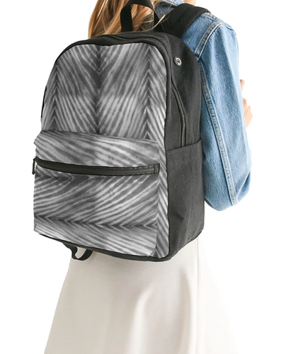 Grey Shibori Striped Canvas Backpack