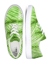 Load image into Gallery viewer, Lime Green Shibori Striped Canvas Sneakers