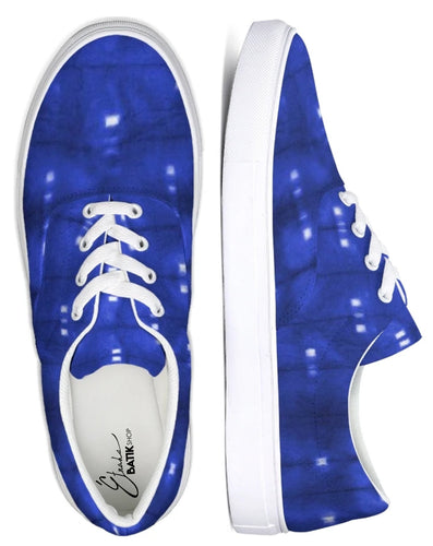 Shibori Indigo Lace Up Canvas Shoe