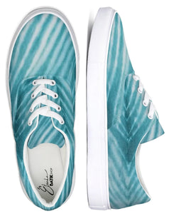 Turquoise Striped Lace Up Canvas Shoe