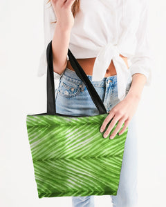 Lime Green Shibori Striped Canvas Zip Tote