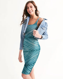 Shibori Turquoise Striped Bodycon Dress