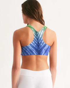 Blue Green Ombré Seamless Sports Bra