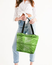 Load image into Gallery viewer, Lime Green Shibori Striped Canvas Zip Tote