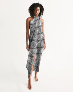 Grey Shibori Striped Swim Cover Up