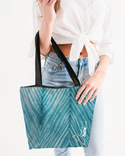 Load image into Gallery viewer, Turquoise Striped Shibori Canvas Zip Tote