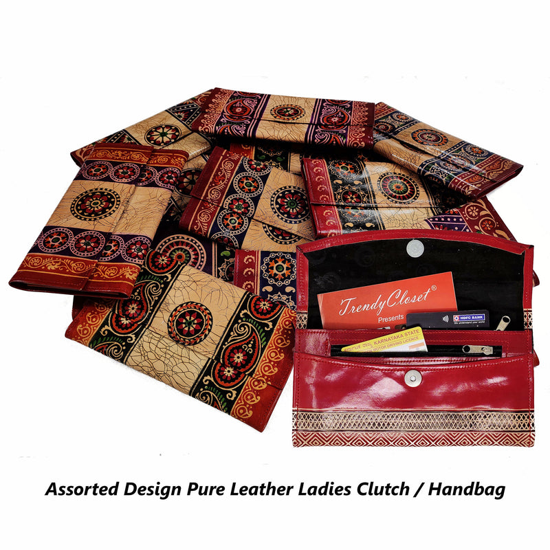 Assorted Genuine Leather Handmade Ladies Clutch / Handbag
